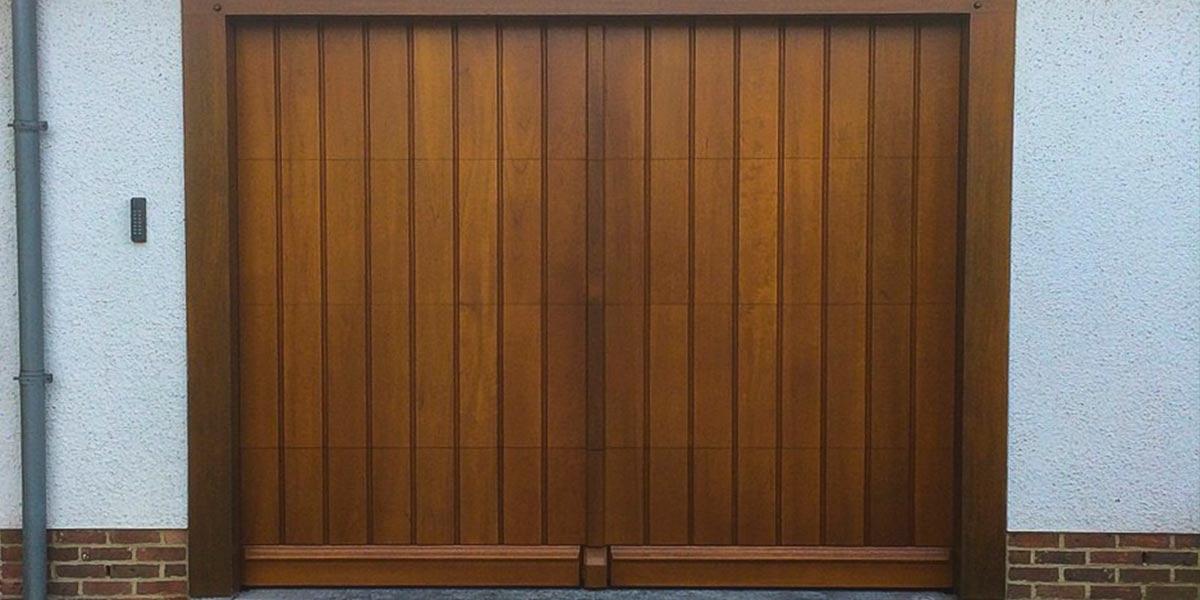 elektrisch houten sectionaaldeur