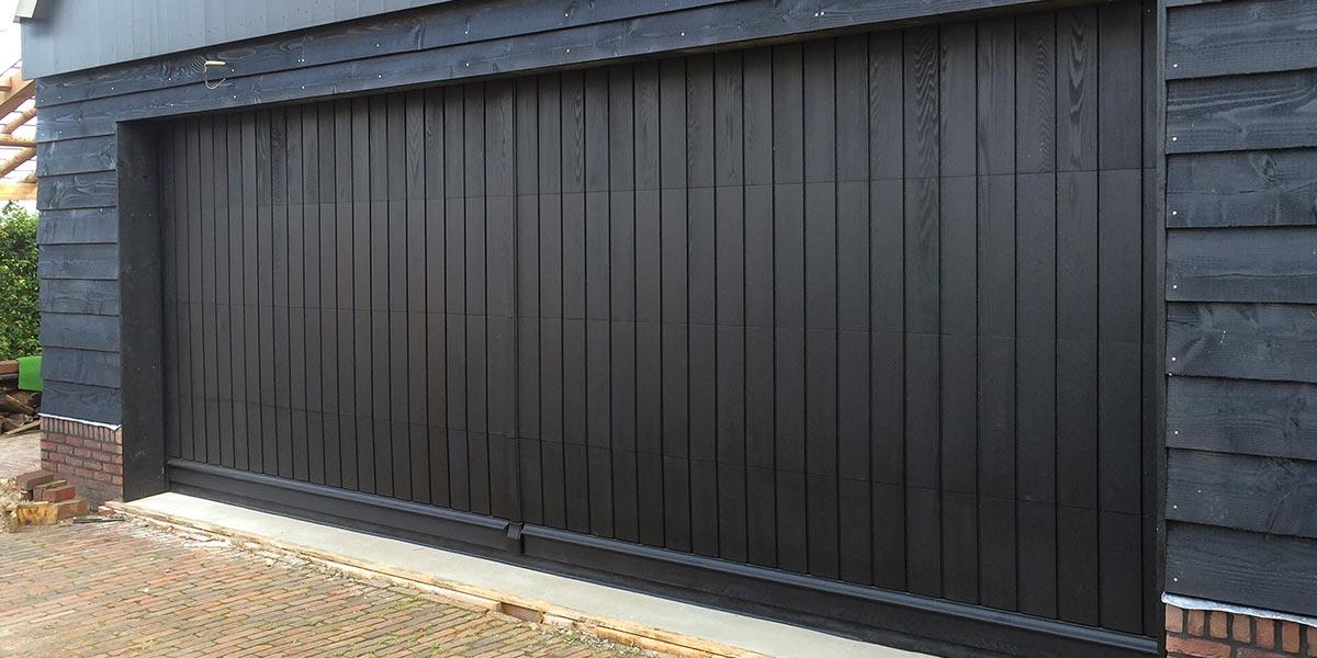 elektrische sectionaaldeur hout