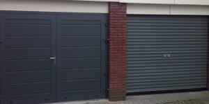openslaande garagedeuren RAL-7043