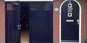 openslaand deur horizontaal glas RAL-5004