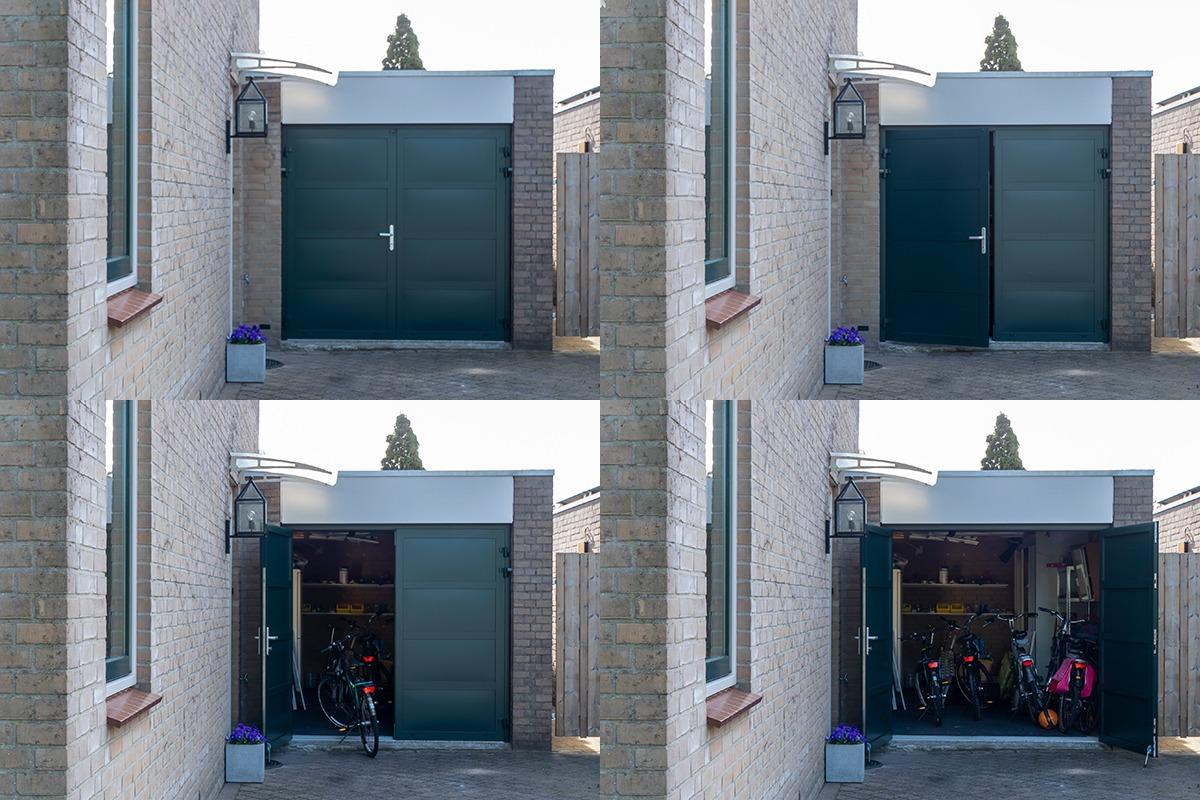 Groene-openslaande-garagedeur
