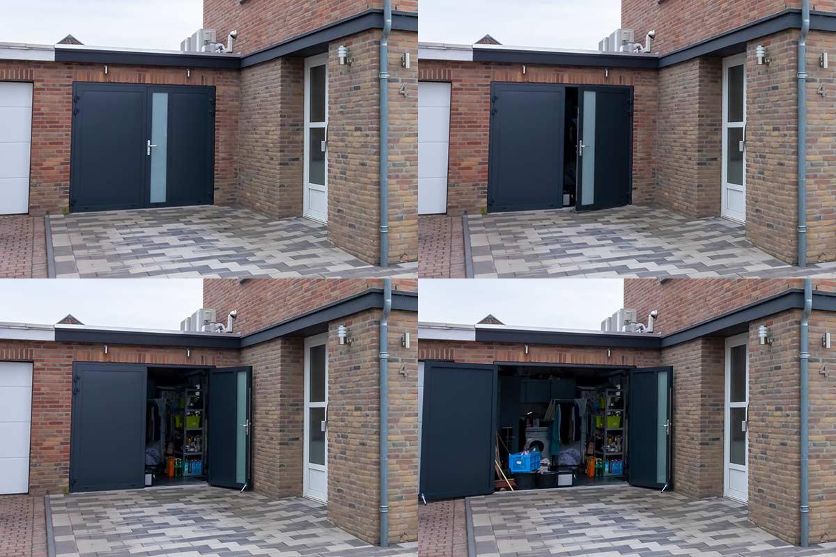 donkerblauwe-openslaande-garagedeur-met-melkglas