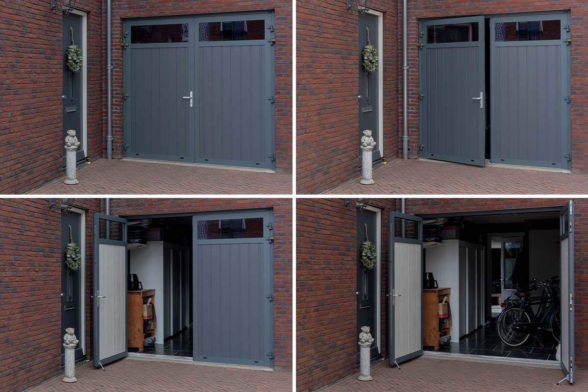Openslaande garagedeur groen