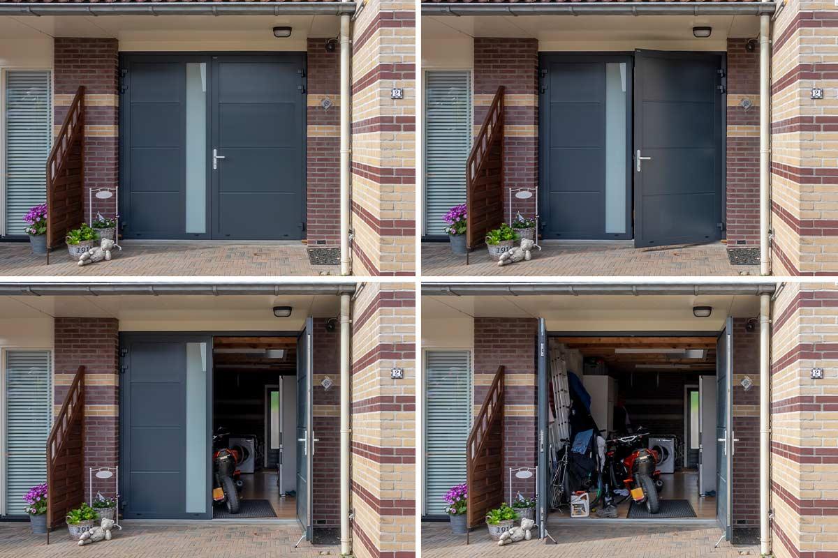 openslaande garagedeur (verticaal glas)