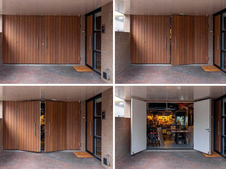 houten openslaande garagedeur met voordeur