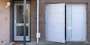 openslaande garagedeur verticaal glas