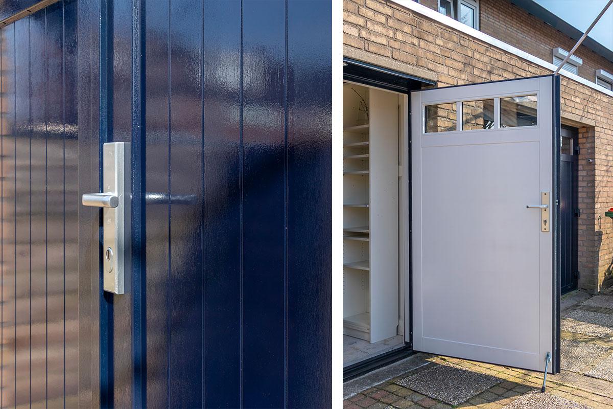 Houten openslaande garagedeuren met raam